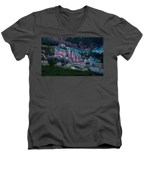 Men's V-Neck T-Shirt featuring the photograph Banff Springs Hotel by John Poon