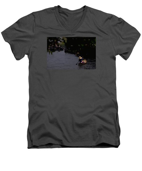 Bangkok Floating Market Men's V-Neck T-Shirt by Travel Pics