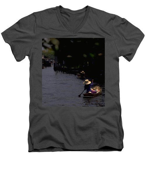 Bangkok Floating Market Men's V-Neck T-Shirt