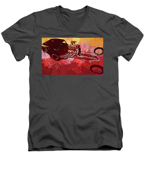 Bantam Dragster Pop Red Men's V-Neck T-Shirt