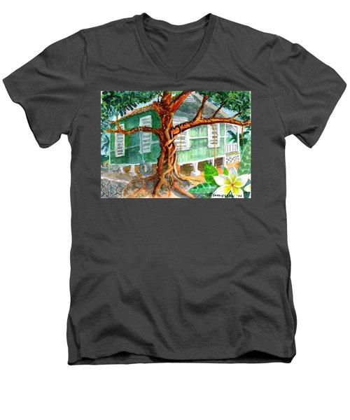 Banyan In The Backyard Men's V-Neck T-Shirt by Eric Samuelson