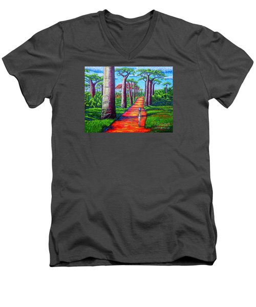 Men's V-Neck T-Shirt featuring the painting Baobab by Viktor Lazarev