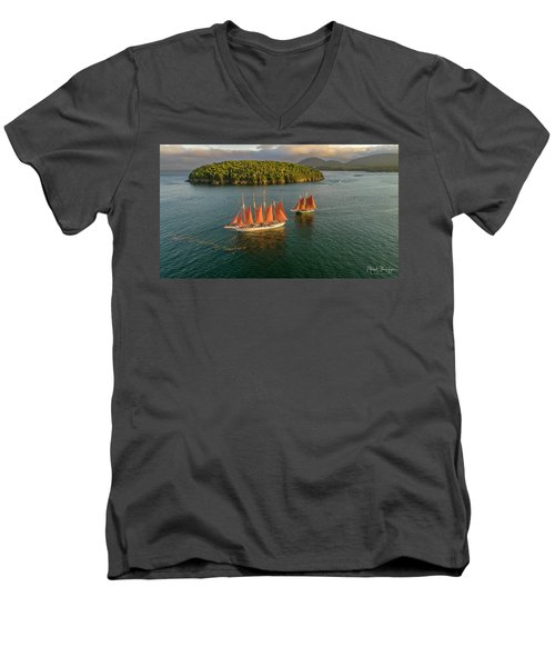 Sailing Thru Life The Downeast Way Men's V-Neck T-Shirt