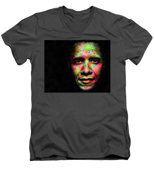 Men's V-Neck T-Shirt featuring the mixed media Barack Obama by Svelby Art
