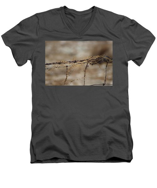 Barbed Wire Entwined With Dried Vine In Autumn Men's V-Neck T-Shirt