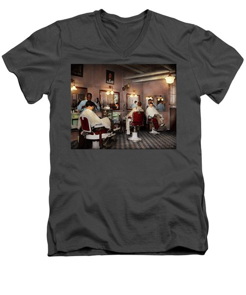 Men's V-Neck T-Shirt featuring the photograph Barber - Senators-only Barbershop 1937 by Mike Savad