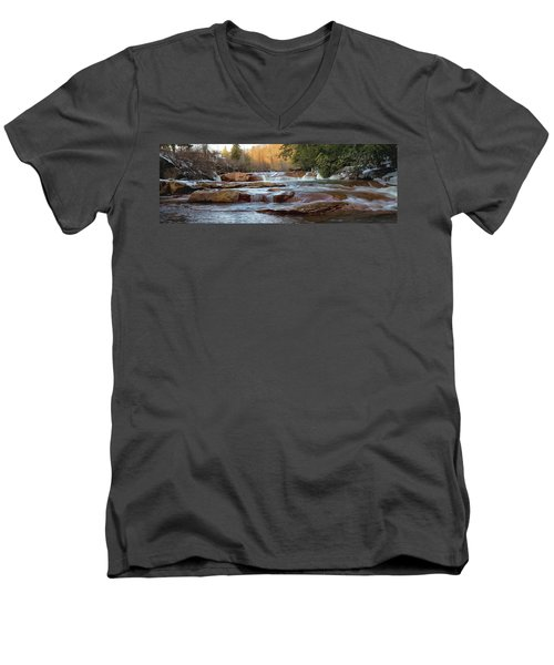Barbershop Falls Wv In Winter Men's V-Neck T-Shirt