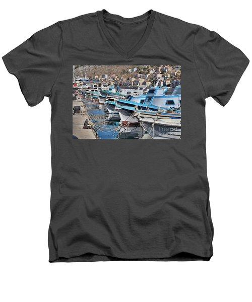 Harbour Of Simi Men's V-Neck T-Shirt by Wilhelm Hufnagl