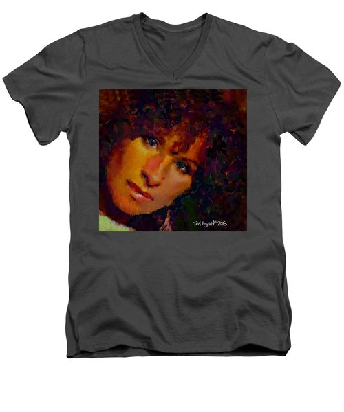 Men's V-Neck T-Shirt featuring the painting Barbra Streisand by Ted Azriel
