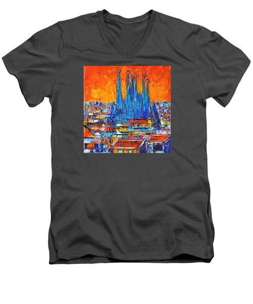 Barcelona Abstract Cityscape 7 - Sagrada Familia Men's V-Neck T-Shirt by Ana Maria Edulescu