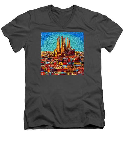 Barcelona Abstract Cityscape - Sagrada Familia Men's V-Neck T-Shirt by Ana Maria Edulescu