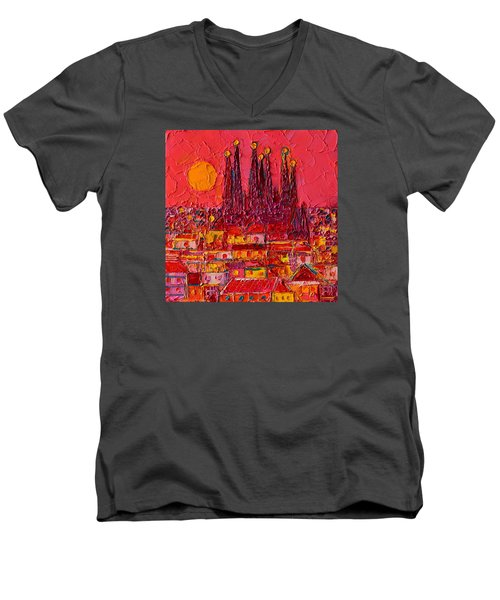 Barcelona Moon Over Sagrada Familia - Palette Knife Oil Painting By Ana Maria Edulescu Men's V-Neck T-Shirt by Ana Maria Edulescu