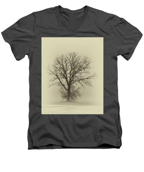 Bare Tree In Fog- Nik Filter Men's V-Neck T-Shirt by Nancy Landry