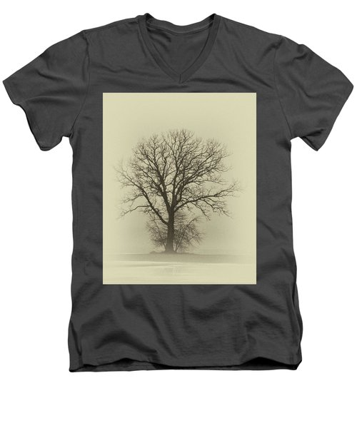 Bare Tree In Fog- Nik Filter Men's V-Neck T-Shirt