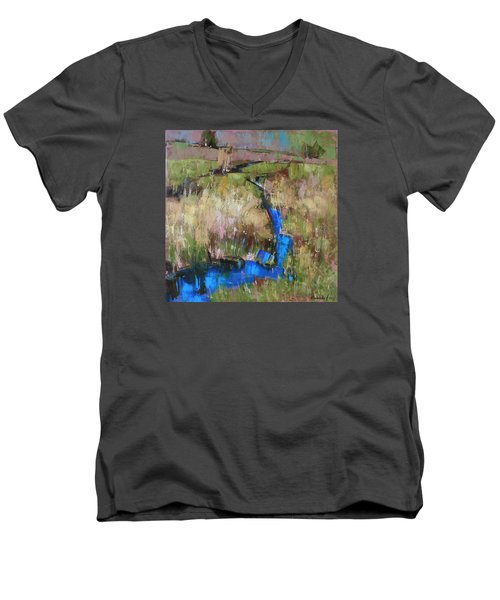 Men's V-Neck T-Shirt featuring the painting Barefoot In The Dew  by Anastasija Kraineva