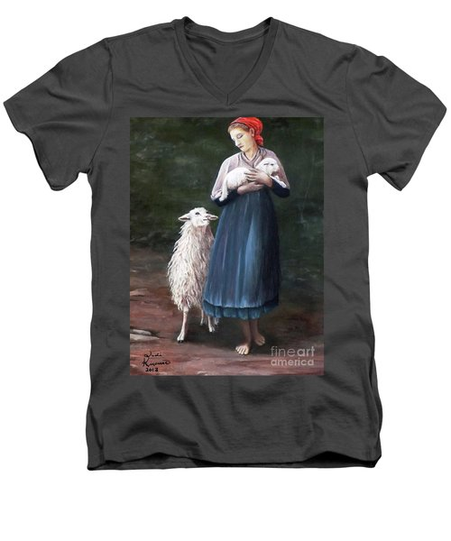 Men's V-Neck T-Shirt featuring the painting Barefoot Shepherdess by Judy Kirouac