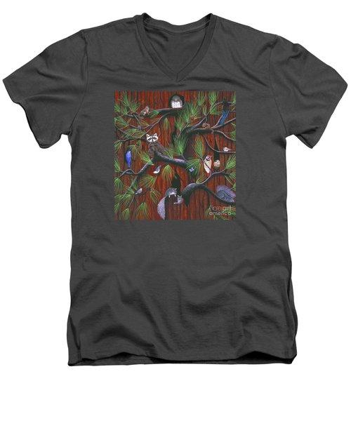 Men's V-Neck T-Shirt featuring the painting Bark by Jennifer Lake