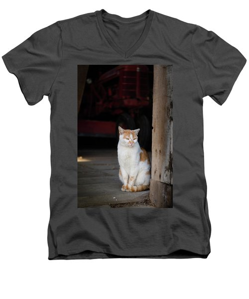 Barn Cat And Tractor Men's V-Neck T-Shirt