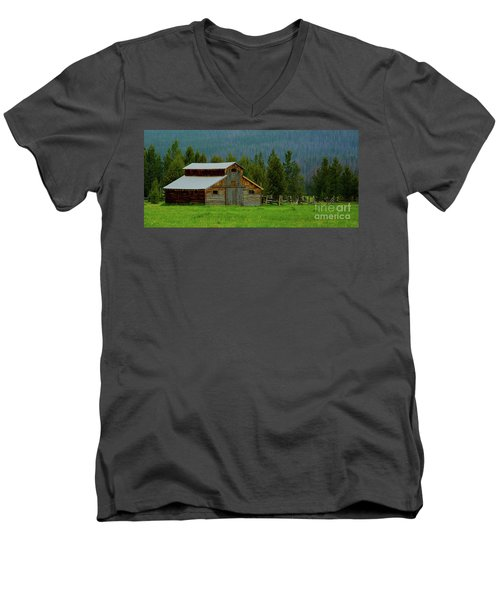 Barn In Rocky Mtn National Park Men's V-Neck T-Shirt by John Roberts