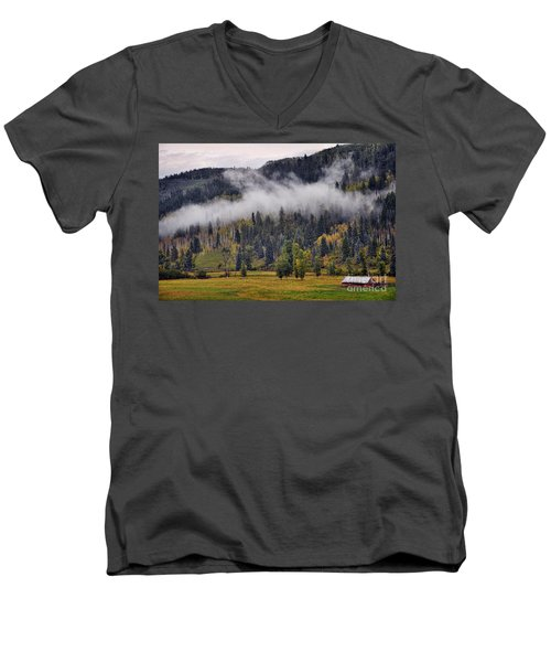Barn In The Mist Men's V-Neck T-Shirt