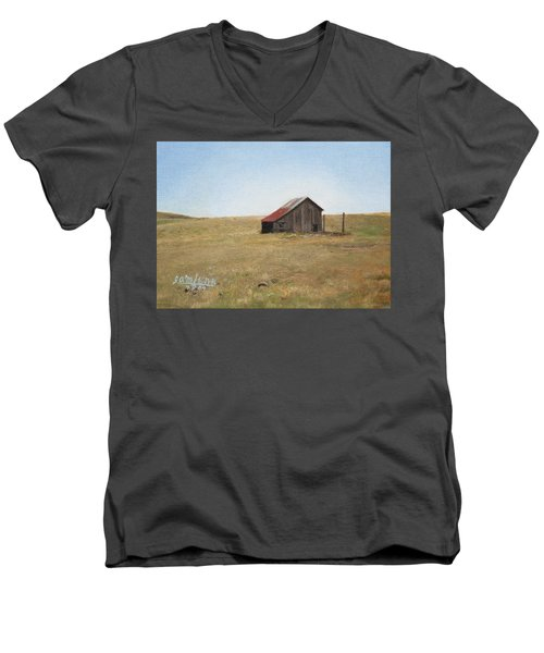 Men's V-Neck T-Shirt featuring the painting Barn by Joshua Martin