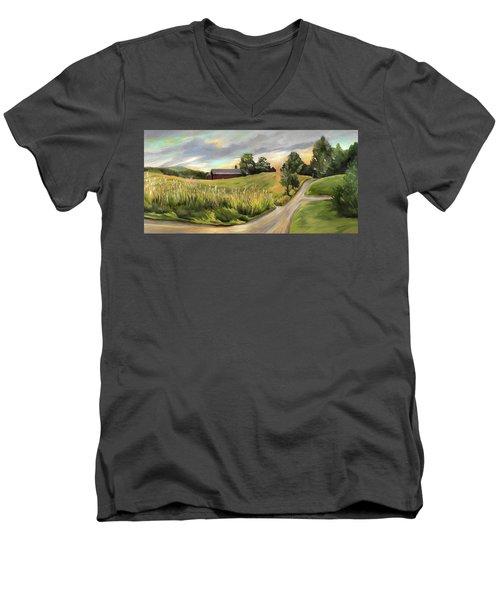 Barn On The Ridge In West Newbury Vermont Men's V-Neck T-Shirt