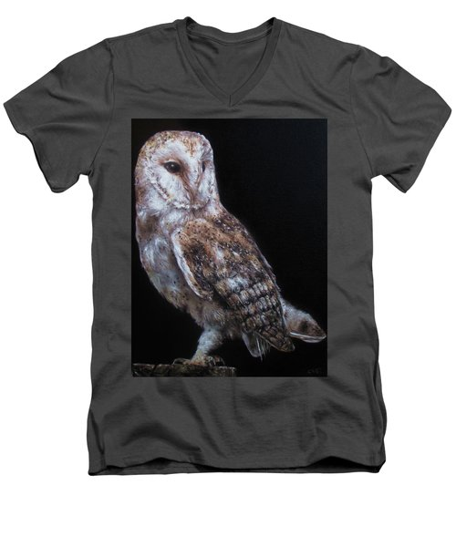 Men's V-Neck T-Shirt featuring the painting Barn Owl by Cherise Foster