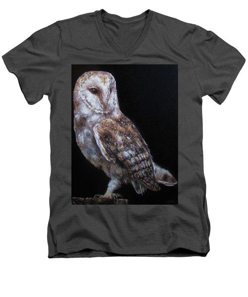Barn Owl Men's V-Neck T-Shirt by Cherise Foster