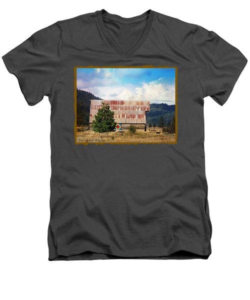 Barn Quilt Americana Men's V-Neck T-Shirt by Bobbee Rickard