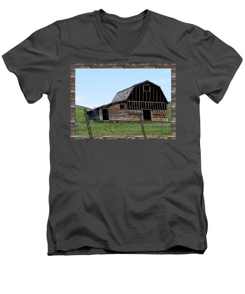 Men's V-Neck T-Shirt featuring the photograph Barn by Susan Kinney