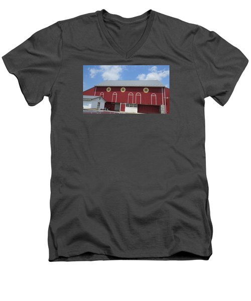 Barn With Hex Signs Men's V-Neck T-Shirt by Jeanette Oberholtzer