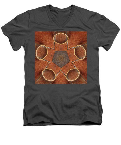 Men's V-Neck T-Shirt featuring the photograph Barn Wood Kaleidoscope 2  by Peter J Sucy