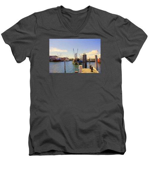 Men's V-Neck T-Shirt featuring the photograph Barnegat Light Fishing Fleet by John Rivera