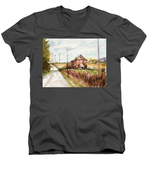Barns And Electric Poles, Sunday Drive Men's V-Neck T-Shirt by Judith Levins