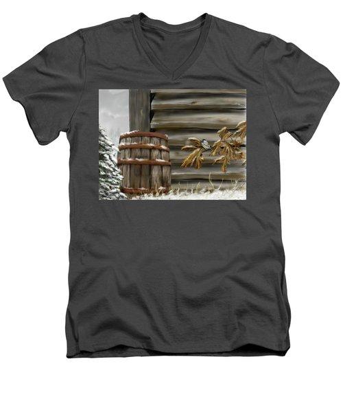 Men's V-Neck T-Shirt featuring the digital art Barnyard Barrel And Chickadee by Darren Cannell