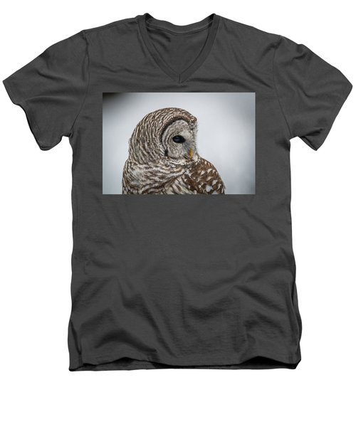 Men's V-Neck T-Shirt featuring the photograph Barred Owl Portrait by Paul Freidlund