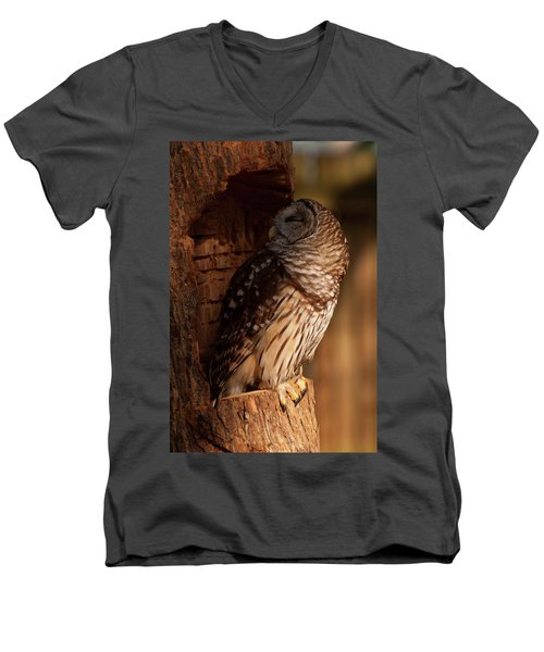 Men's V-Neck T-Shirt featuring the digital art Barred Owl Sleeping In A Tree by Chris Flees
