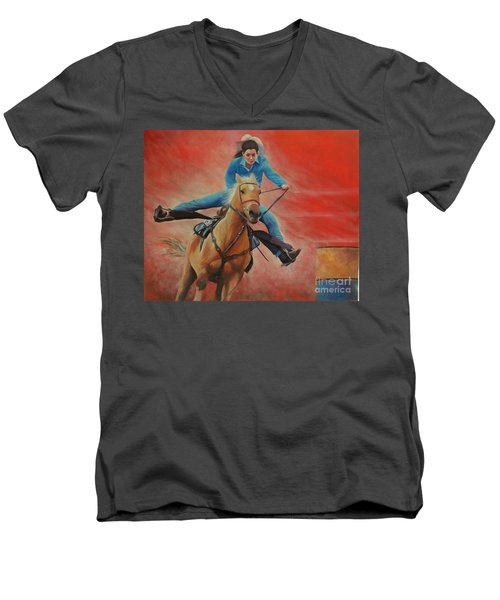 Barrel Racing Men's V-Neck T-Shirt by Jeanette French