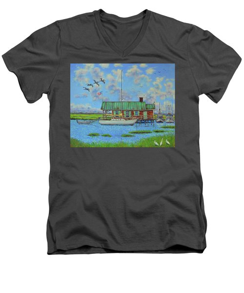 Barriar Island Boathouse Men's V-Neck T-Shirt by Dwain Ray