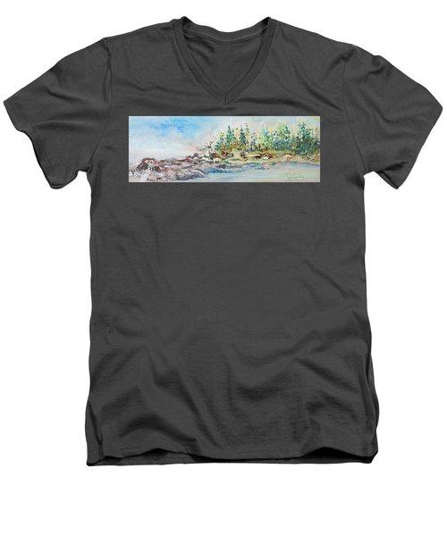 Barrier Bay Men's V-Neck T-Shirt by Joanne Smoley
