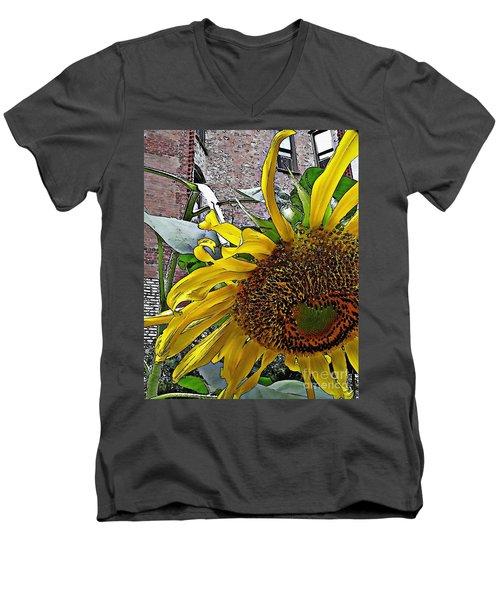 Barrio Sunflower 3 Men's V-Neck T-Shirt by Sarah Loft