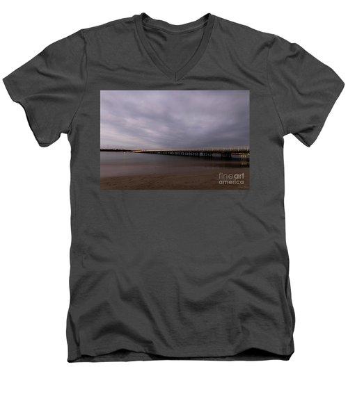 Men's V-Neck T-Shirt featuring the photograph Barwon Heads Bridge by Linda Lees