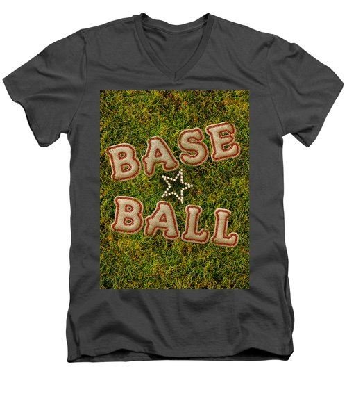 Baseball Men's V-Neck T-Shirt by La Reve Design