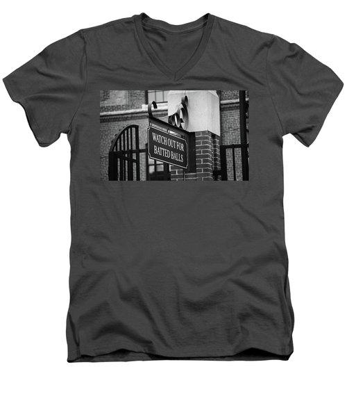 Baseball Warning Bw Men's V-Neck T-Shirt