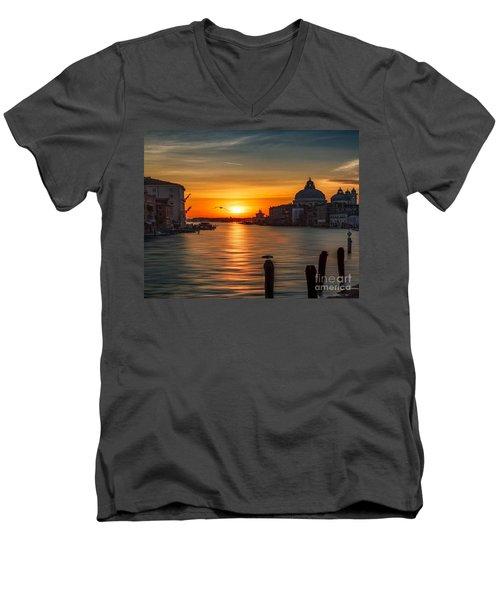 Basilica Di Santa Maria Dela Salute, Venice Men's V-Neck T-Shirt by Rod Jellison