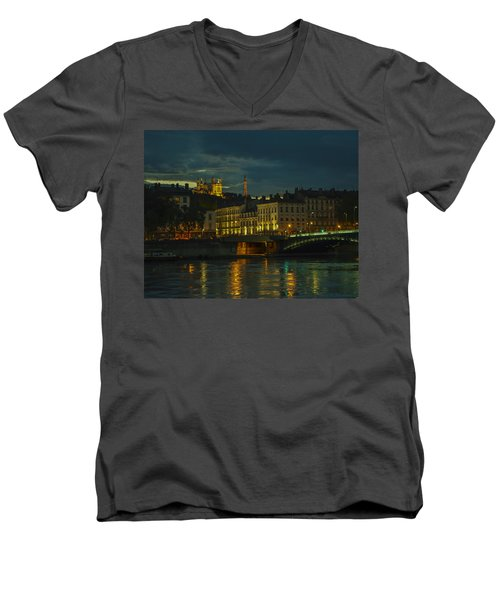 Men's V-Neck T-Shirt featuring the photograph Basilica Notre Dame De Fourviere From Across The Rhone River by Allen Sheffield