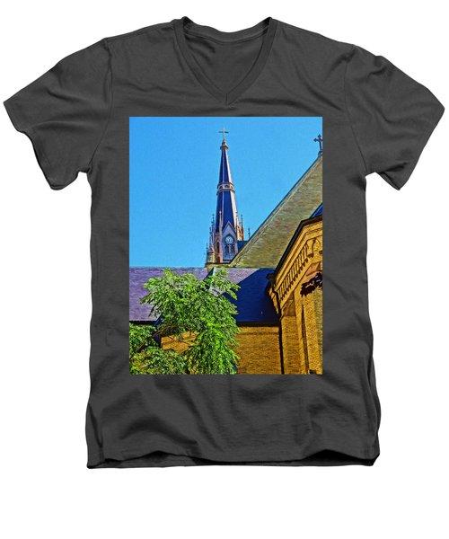 Basilica Of The Sacred Heart Notre Dame Men's V-Neck T-Shirt by Dan Sproul