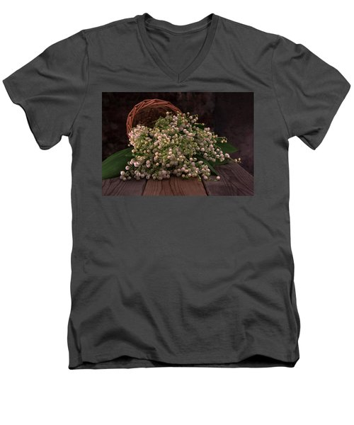 Men's V-Neck T-Shirt featuring the photograph Basket Of Fresh Lily Of The Valley Flowers by Jaroslaw Blaminsky