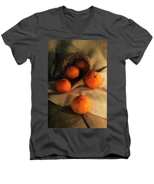 Men's V-Neck T-Shirt featuring the photograph Basket Of Fresh Tangerines by Jaroslaw Blaminsky
