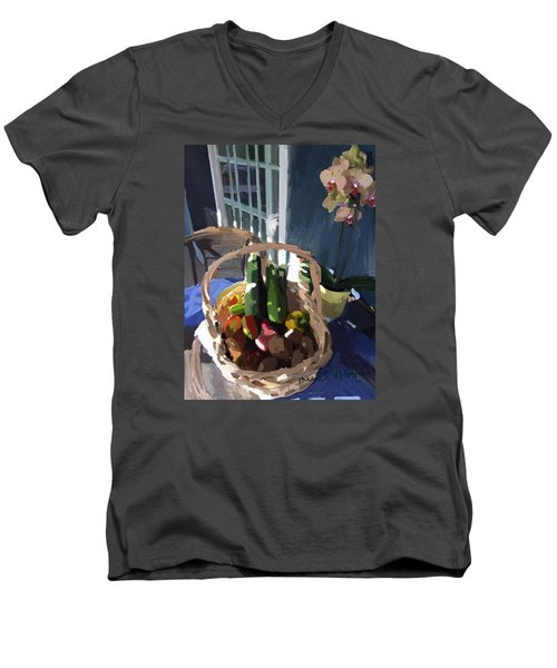 Basket Of Veggies And Orchid Men's V-Neck T-Shirt